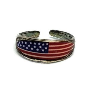 American Flag Sterling Silver Toe Pinky Ring